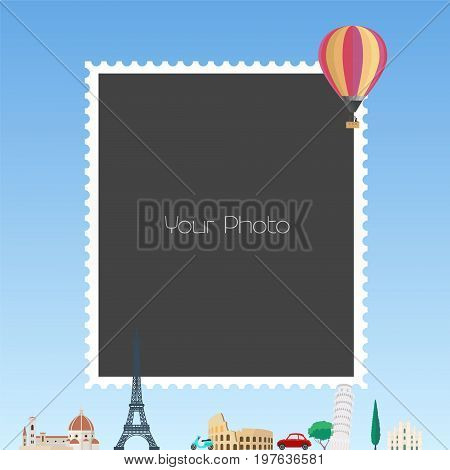 Photo frame collage with cartoon background for European countries and hot air balloon vector illustration. Travel and fun themes for photo frames