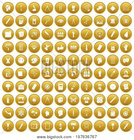 100 paint icons set in gold circle isolated on white vectr illustration