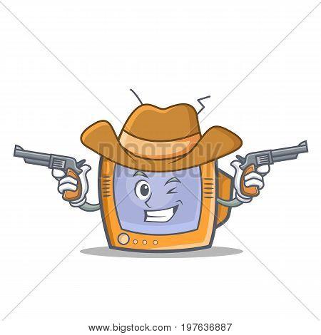 Cowboy TV character cartoon object vector illustration