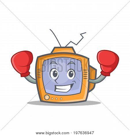 Boxing TV character cartoon object vector illustration