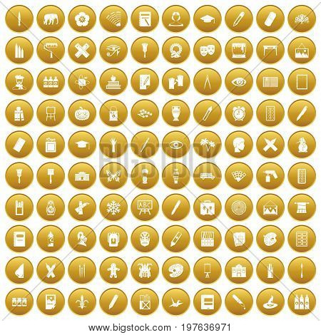 100 paint school icons set in gold circle isolated on white vectr illustration