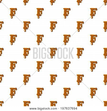 Letter F from caramel pattern seamless repeat in cartoon style vector illustration