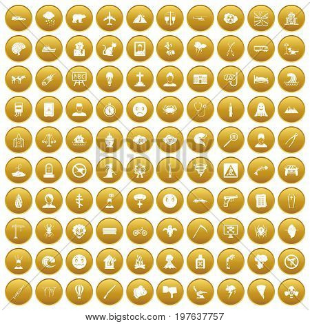 100 phobias icons set in gold circle isolated on white vectr illustration