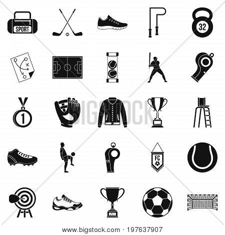 Athlete icons set. Simple set of 25 athlete vector icons for web isolated on white background