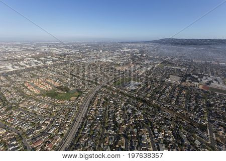 Aerial view of summer haze above Anza Ave near Del Amo Blvd in Torrance, California.
