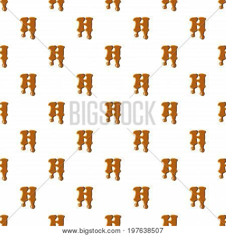 Letter H from caramel pattern seamless repeat in cartoon style vector illustration