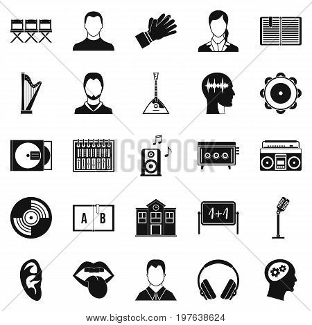 Action icons set. Simple set of 25 action vector icons for web isolated on white background