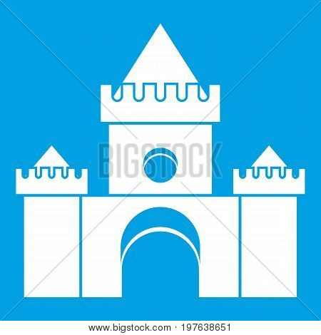 Fairytale castle icon white isolated on blue background vector illustration
