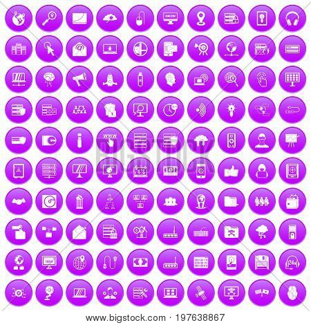 100 cyber security icons set in purple circle isolated on white vector illustration
