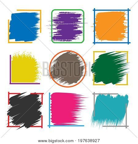 Colored brush stroke boxes. Color abstract vector inked brushed frames isolated on white background