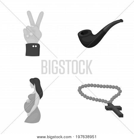 accessories, business, medicine and other  icon in monochrome style., gynecology, cross, rosary icons in set collection