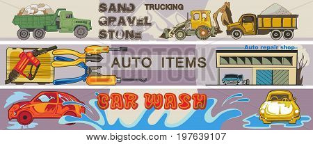 Colored hand drawn cars horizontal banners with truck lorry tractor auto repair tools and automobile washing vector illustration