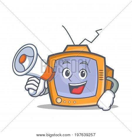 TV character cartoon object with megaphone vector illustration