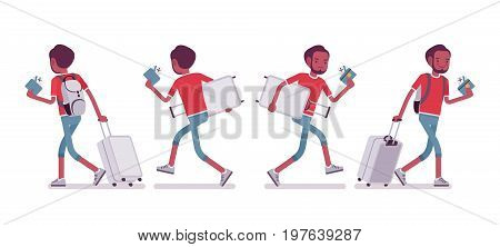 Black male tourist walking and running. Young man with luggage late for the flight, hurry for the plane. Travel and tourism concept. Vector flat style cartoon illustration, isolated, white background