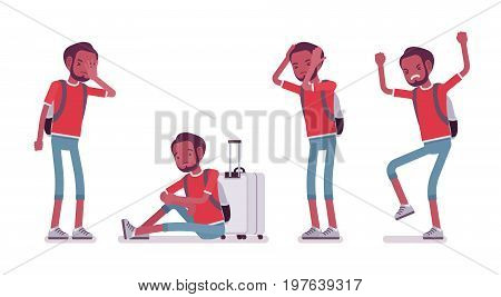Black male tourist negative emotions. Young man with luggage, stressful vacation, illness and money loss. Travel and tourism concept. Vector flat style cartoon illustration, isolated, white background