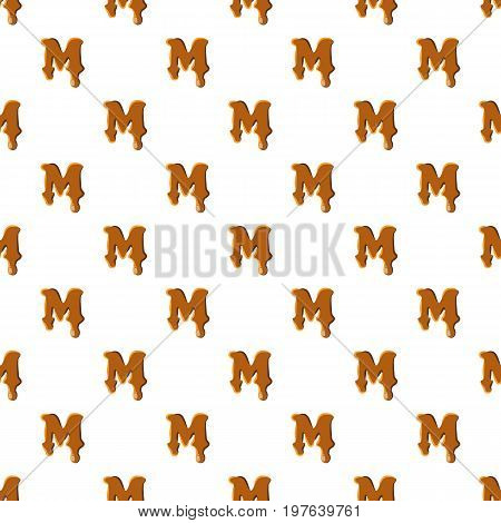 Letter M from caramel pattern seamless repeat in cartoon style vector illustration