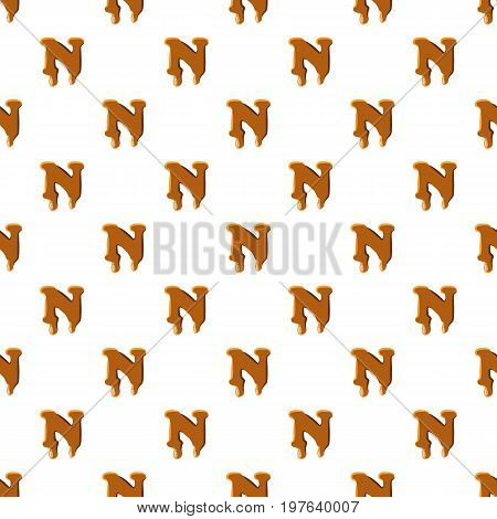 Letter N from caramel pattern seamless repeat in cartoon style vector illustration