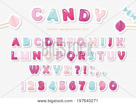 Paper cut out sweet font design. Candy ABC letters and numbers. Pastel pink and blue. Vector.
