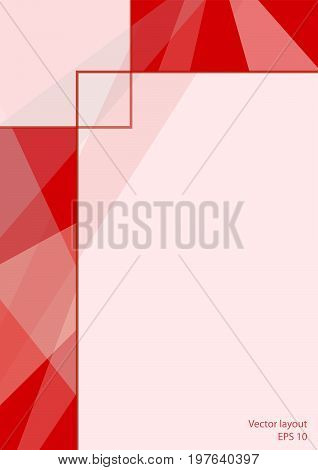 Cover layout modern design. Abstract geometric red background with text place. Technology template for magazines, brochures, books, leaflets, booklets, prospectuses, annual reports, portfolio, posters, flyers. EPS10 vector illustration, size A4