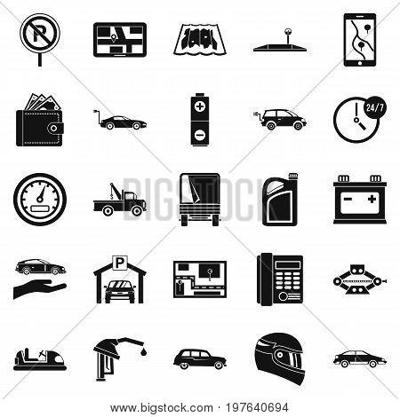 Wheelbarrow icons set. Simple set of 25 wheelbarrow icons for web isolated on white background