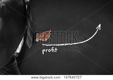 Increase profit concept. Businessman (manager, coach, leadership) hurry to increase profit growth.