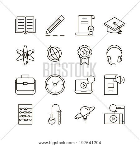 E-learning icon set. Collection of education thin line icons. 16 high quality outline signs of training on white background. Pack of symbols for design website, mobile app, printed material, etc.