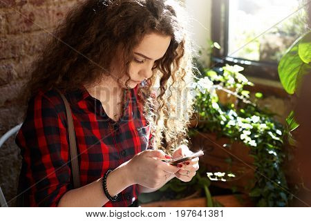 Modern teenage girl with wavy hairstyle sitting on chair in cozy room with decorative plants in pots on windowsill and messaging friends online using wireless internet connection on her mobile phone