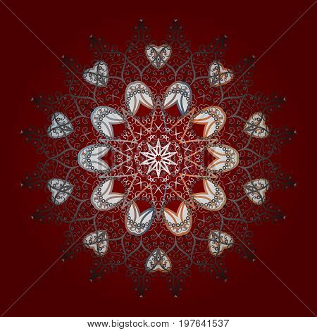 Flat design of snowflakes isolated on colorful background. Snowflakes background. Snowflake ornamental pattern. Vector illustration. Snowflakes pattern.