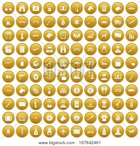 100 smuggling  icons set in gold circle isolated on white vectr illustration