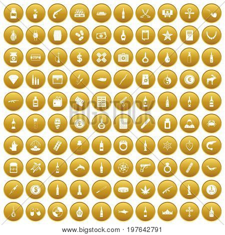 100 smuggling goods icons set in gold circle isolated on white vectr illustration