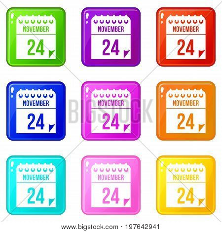 24 november calendar icons of 9 color set isolated vector illustration