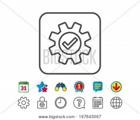 Cogwheel line icon. Approved Service sign. Transmission Rotation Mechanism symbol. Calendar, Globe and Chat line signs. Binoculars, Award and Download icons. Editable stroke. Vector
