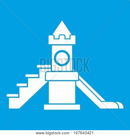 Slider, kids playground equipment icon white isolated on blue background vector illustration