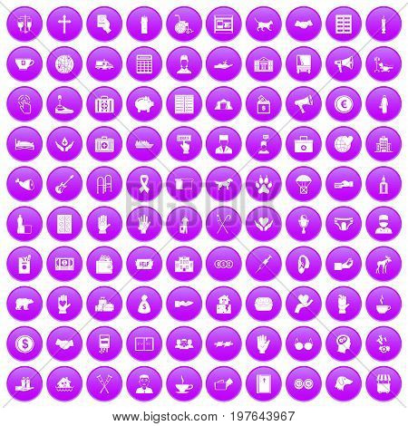 100 donation icons set in purple circle isolated on white vector illustration