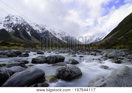Canal of Mount Tasman Valleys Aoraki Mt Cook national park Southern Alps mountain South Island New Zealand.