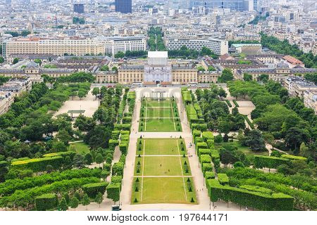 Aerial View on Champ de Mars from the Eiffel Tower. France.