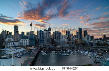 SYDNEY AUSTRALIA - July 30 2017 : Sunrise of Darling Harbour adjacent to the city center of Sydney and also a recreational place in Sydney central business district
