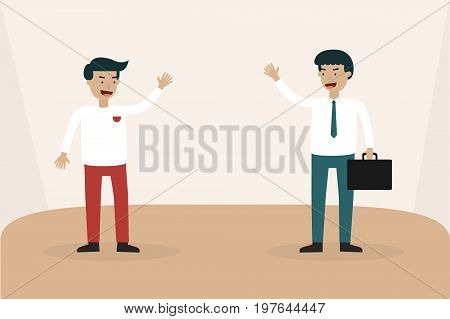 Businessman meeting talk and hand up to say goodbye. illustration business concept.