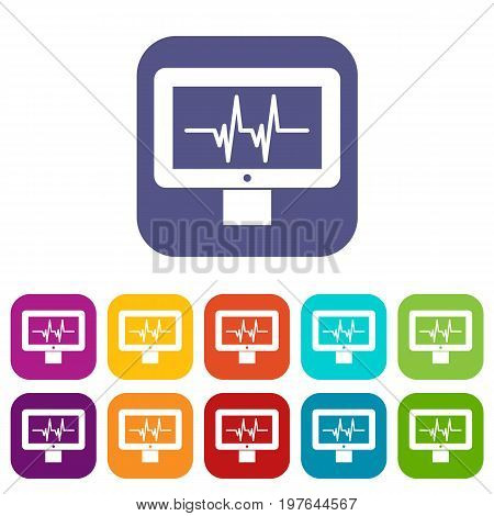 Electrocardiogram monitor icons set vector illustration in flat style in colors red, blue, green, and other