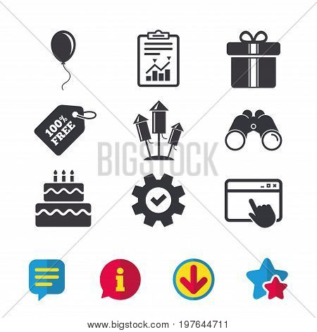 Birthday party icons. Cake and gift box signs. Air balloons and fireworks rockets symbol. Browser window, Report and Service signs. Binoculars, Information and Download icons. Stars and Chat. Vector