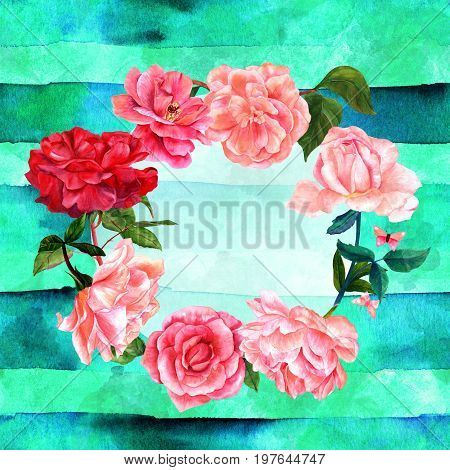 Floral wreath with hand drawn watercolour flowers including roses, peonies, camellias, with butterflies and leaves. Vintage style botanical art on teal blue background, with  a place for text