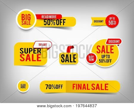 Sale banner set discount tag collection special offer. Modern yellow and red website stickers on a gray abstract background color web page design