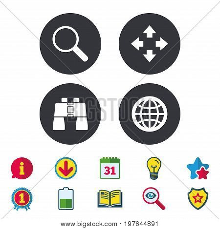 Magnifier glass and globe search icons. Fullscreen arrows and binocular search sign symbols. Calendar, Information and Download signs. Stars, Award and Book icons. Light bulb, Shield and Search