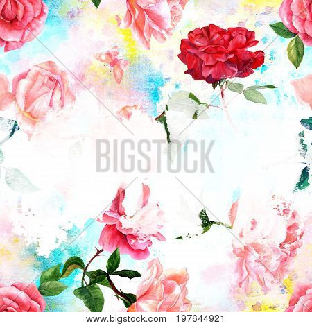 A design template with watercolor drawings of blooming red and pink roses, camellias, peonies, butterflies, hand painted on a background of pink and teal blue brush strokes, with a place for text