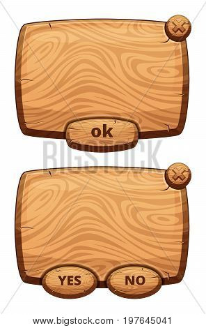Different wooden panels for game. Cartoon vector illustrations set. Wooden panel interface with button