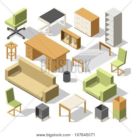 Isometric office furniture. 3d cabinet with table, chairs and armchair, sofa and shelves. Vector illustration set of table and chair, sofa and armchair
