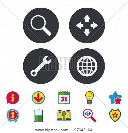 Magnifier glass and globe search icons. Fullscreen arrows and wrench key repair sign symbols. Calendar, Information and Download signs. Stars, Award and Book icons. Light bulb, Shield and Search