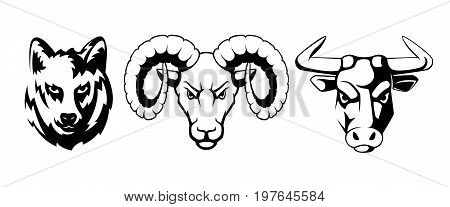 Sport emblems set with different animals. Wolf, ram and bulls. Vector illustrations for labels animal wolf and bull with ram monochrome