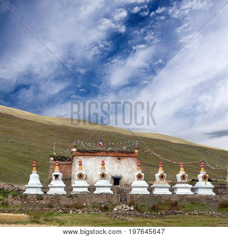 Ancient Bon-Po Stupa and Monastery in Dho Tarap valley Dolpo Nepal
