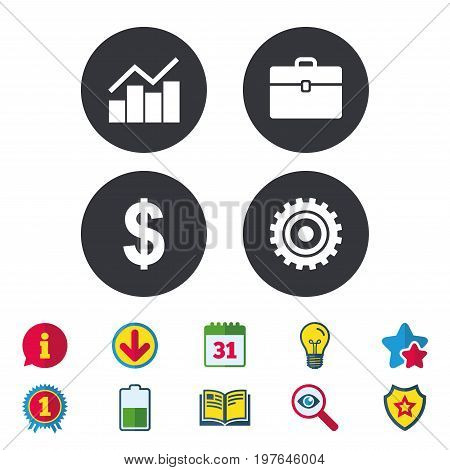 Business icons. Graph chart and case signs. Dollar currency and gear cogwheel symbols. Calendar, Information and Download signs. Stars, Award and Book icons. Light bulb, Shield and Search. Vector